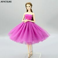 Purple Short Ballet Dress For Barbie Doll Clothes Evening Dress Clothes Kids Toy