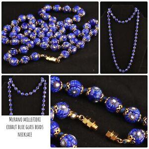 Gorgeous Vintage Murano millefiori necklace - Cobalt blue Glass Beads