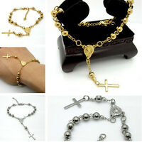 New Fashion Rosary Beads Chain Bracelet 316L Stainless steel Silver&Gold Unisex