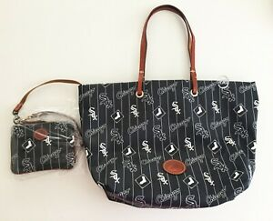 NWT Dooney & Bourke Chicago White Sox Addition Tote Bag & Stadium Wristlet Black