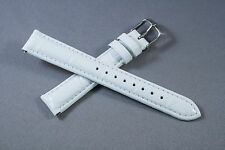 16mm White 100% Genuine Leather Watch Band,Strap,Interchangeable,Quick Release