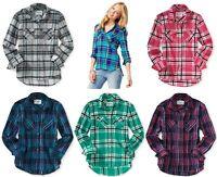 AEROPOSTALE Womens Long Sleeve Plaid Woven Button Down Shirt XS,S,M,L,XL,2XL NEW