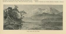 ANTIQUE LONG'S PEAK MOUNTAIN COLORADO FROM LILY POND CANOE TENT MINIATURE PRINT