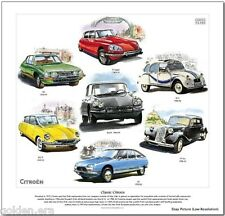 CLASSIC CITROEN - FINE ART PRINT - DS19, SM, GS, D Super, 15 Six & 2CV models