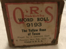 QRS Piano Word Roll 9193 The Yellow Rose Of Texas Played By  J.  Lawrence Cook