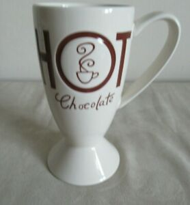 WHITTARD ~  HOT CHOCOLATE FOOTED MUG ~ BROWN WRITING ~  16CM HIGH
