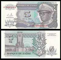 ZAIRE 5 Nouveaux Makuta, 1993, P-48, Africa, UNC World Currency