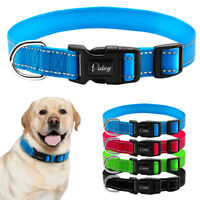 Reflective Nylon Dog Collars D Ring Durable for Small Medium Large Dogs Blue S-L