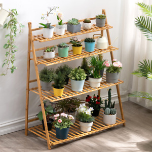 Folding flower stand solid wood floor type trapezoidal shelf