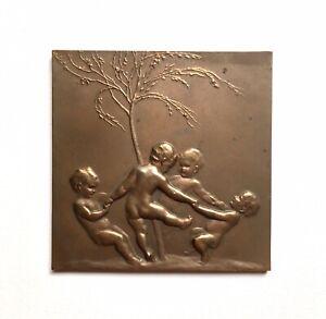 Stefan Schwartz Bronze Relief Plaque, Rondo, Dancing Putti, 1915 Austria Listed