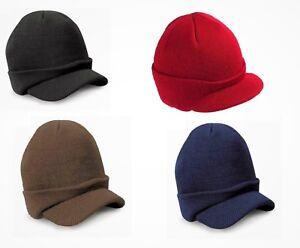 Unisex Esco Peaked Army Beanie Hat Warm Wooly Winter Mens/Ladies Cadet Ski Cap