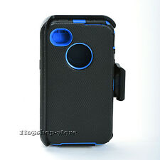 iPhone 4 iPhone 4s Defender Rugged Case w/Holster Belt Clip (Black/Navy Blue)