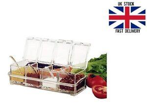 4 Pcs/Set Spice Jar Seasoning Box Cover & Spoons Clear Rack Spice Racks Pots Jar