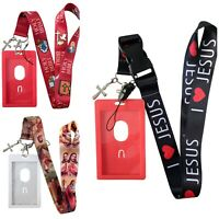 Jesus Religious Lanyard Church Christianity God Key Chain ID Card Badge Holder