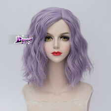 Lolita Heat Resistant Light Purple Ombre Curly Women Harajuku Cosplay Wig + Cap