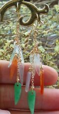 14K Gold Filled Natural A red Jade jadeite Chili Earrings Bead Dangle 耳环 523107