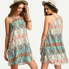 Womens Summer Beach Dress Ladies Sleeveless Loose Halterneck Mini Party Dresses