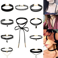 10 Pcs/set Choker Necklace Stretch Velvet Classic Gothic Tattoo Lace Choker