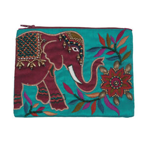 Red Elephant Coin Purse Teal Embroidered Beads Handmade Fair Trade Large