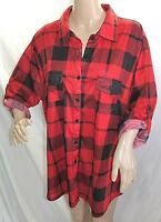 French Laundry Women Plus Size 1x 2x 3x Red Check Button Down Shirt Blouse Top