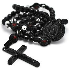 Black Bold Onyx Hip Hop Beads Crystal Pave Cross Rosary Men Chain Necklace 37""