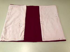 Vintage Handmade Burgundy Velvet & Pink Fleece Knee Blanket