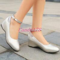 Womens Patent Leather Wedge Heels Platform Ankle Straps Pumps Shoes US Size 5-15