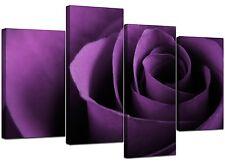 Large Purple Rose Floral Canvas Wall Art Pictures 130cm Prints XL 4112