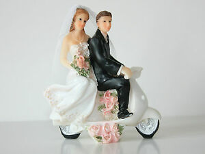 Bride & Groom Wedding Cake Topper, on a Scooter, Hand Painted Resin 9cm x 8cm