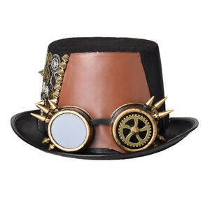 Vintage Steampunk Gothic Alloy Gears Element Brown Pleather Top Hat Party Hat