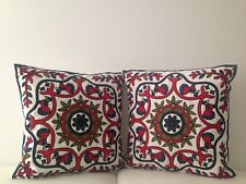 """2X Red Floral Crewel Country Vintage Ethnic Cotton Pillow Cushion Covers 18"""""""