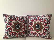 2X Red Floral Crewel Country Vintage Ethnic Cotton Pillow Cushion Covers 18""