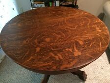 """ANTIQUE CLAW FOOT TIGER OAK DINING TABLE WITH GLASS TOP - 40"""" ROUND"""