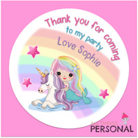 Personalised Unicorn & Mermaid Birthday Stickers Thank You Party Bag Sweet Cone
