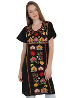 ABOVE KNEE EMBROIDERED MEXICAN PEASANT HIPPIE MINI BOHO DRESS S M L XXL