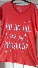 CHRISTMAS T SHIRT HO HO HO PASS THE PROSECCO NEW AND UNUSED