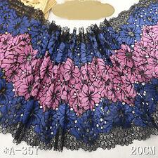"""1Y Black Blue Pink Floral Stretch Lace Trim For DIY Craft Lingerie Wide 7 3/4"""""""
