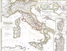 ORIGINALE anni 167 vecchia CARTINA ITALIA ITALIA a Bellis Punicis IMP. OCC. 1850