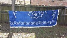 VINTAGE BLUE WHITE FLORAL CRUSHED VELVET TWIN BEDSPREAD FREE SHIPPING