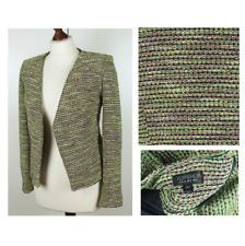 TOPSHOP Ladies Neon Green Pink Cropped Bouclé Blazer Jacket Coat Size UK 8