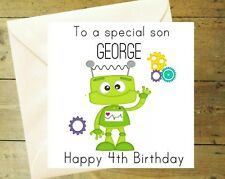 Personalised robot bolts red card glitter detail age birthday greeting son