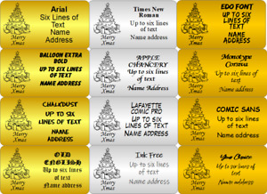 CHRISTMAS TREE Gold Silver or Bronze Labels with your Address and tree Graphic