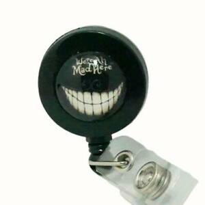 RETRACTABLE LANYARD BADGE NAME BADGE REEL BADGE WE'RE ALL MAD HERE CHESHIRE CAT