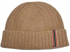 New Gucci Men's 309854 Camel Red Green Web 100% Cashmere Beanie Ski Hat S