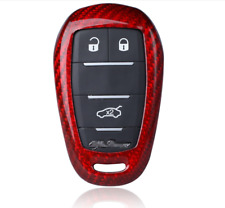 Red Real Carbon Fiber Keyless Fob Smart Key Cover For Alfa Romeo Giulia Stelvio