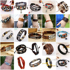Women Men Wrap Braided Handmade Leather Wristband Charm Bracelet Punk New Bangle