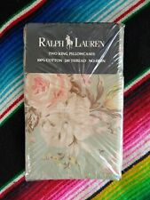 Two New RALPH LAUREN Charlotte Green KING PILLOWCASES Bedding Floral Flowers IV