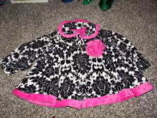 BOUTIQUE GIGGLE MOON 3T BLACK WHITE PINK FLORAL JACKET COAT