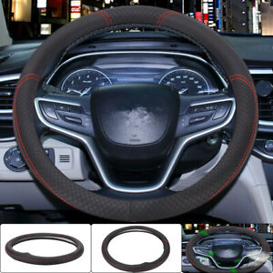 Car Steering Wheel Cover Protector Glove Universal redBlack Perforated Leather