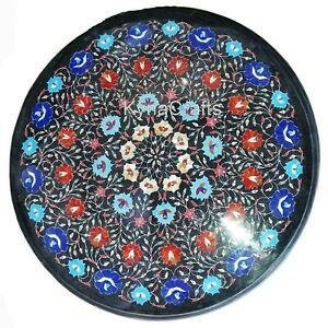 25 Inches Marble Coffee Table Top Semi Precious Stone Inlaid Center Table Top